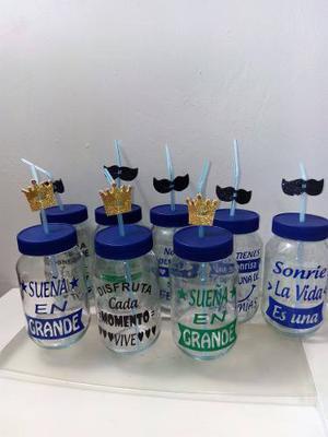 Frasco Vaso Vidrio Tapa Azul 500cc Tipo Mason Jars Con Vinil