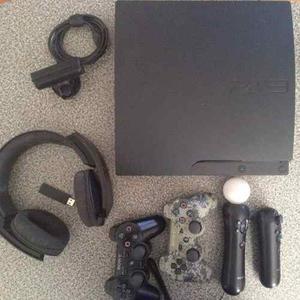 Playstation 3 Ps3 Con 14 Juegos 2 Controles Y Move Audifonos