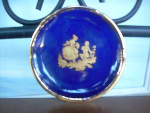 Increíble Plato De Porcelana Marca Limoge En Color Azul