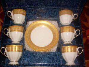 Juego De (6) Taza Y Plato De Porcelana Marca Gold Colection