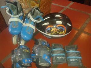 Patines Hot Wheels Ajustable De La 32 A La 35