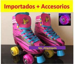 Patines Soy Luna Importados De Silicon Con Ruedas Led + Kit