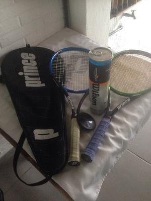 Combo De Raquetas De Tenis Prince Y Juego De Pelotas Wilson