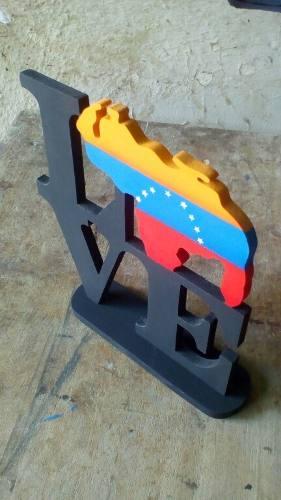 Bellos Love Venezuela Pintado 20x20 En Mdf
