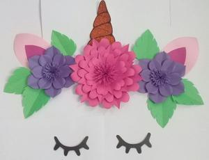 Combo De Flores De Papel Unicornio