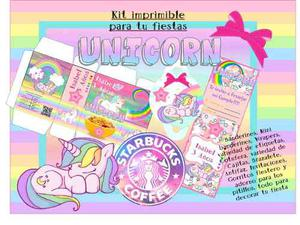 Kit Imprimible Unicornio Candy Bar