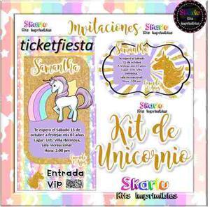 Kit Imprimible Unicornio Silueta Glitter Candy Bar