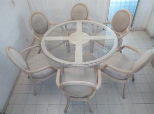 Juego De Sala Comedor Rattan Mesa Central Con Vidrio Fuerte