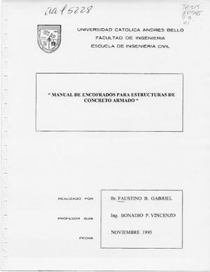 Manual De Encofrados Para Estructuras De Concreto Armado