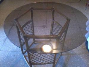 Mesa De Comedor De Ratan Con Vidrio