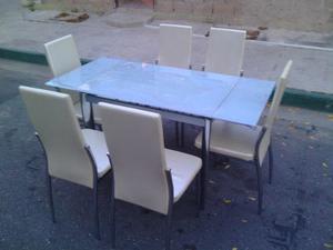Mesa De Comedor De Vidrio Expansible Con 6 Puestos