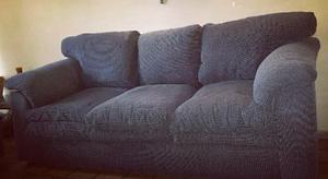 Sofá Mueble 3 Tres Puestos Acolchado Azul Oscuro