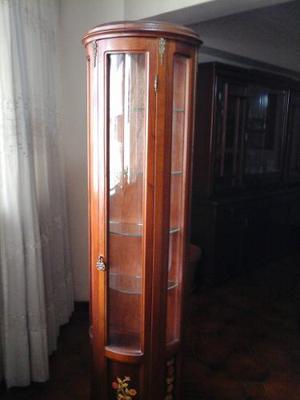 Vitrina Columna O Esquinera De Madera Antigua Tipo Bombe