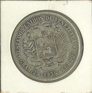 Moneda 5 Bolivares Fuerte De Plata  Vf