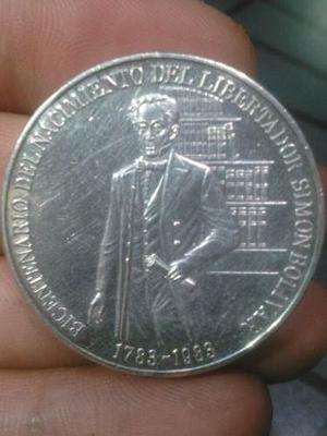 Moneda Bicentenario Natalicio Libertador Simon Bolivar Plata