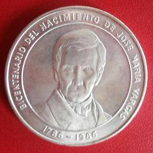 Moneda De Plata Conmemorativa De José Maria Vargas 100 Bs.