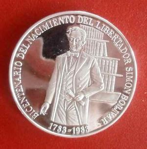 Moneda De Plata Conmemorativa De Simón Bolívar 100 Bs.