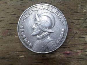 Moneda Medio Balboa De Plata  Panama
