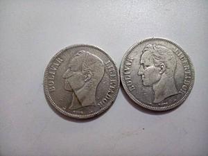 Monedas De Plata, 5 Bolívares Fuerte  Y