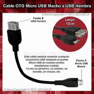 Cable Otg Micro Usb Macho A Usb Hembra