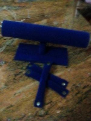 Exhibidores De Gamuza Azul Y Acrilico Para Pulseras Zarcillo