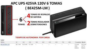 Ups Apc Be425m 425va 6 Tomas Backups Regulador Voltaje Bagc