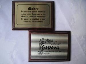 Cuadritos Placas De Metal Y Madera Para La Madre Y Esposa