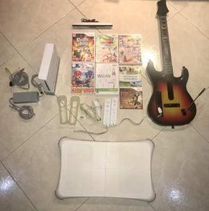 Nintendo Wii + 2 Controles + Guitar Hero + Wii Fit +7 Juegos