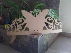 Corona De Mariposa Para Mosquitero De 50cm En Mdf Crudo