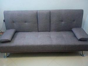 Sofa Cama 3 Puestos De Tela Marron Perfecto Estado