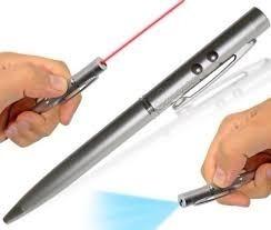 Boligrafo Apuntador Laser Y Linterna Luz Azul Nuevo Estuche