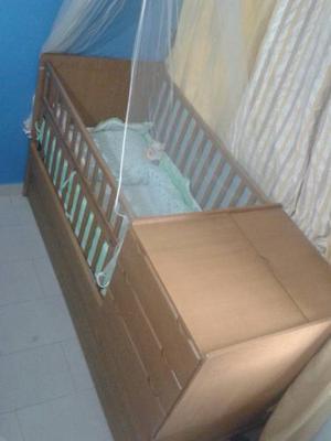 Cama Cuna Duplex De Madera Como Nueva Con Colchon