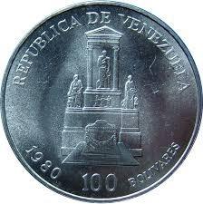 Moneda De 100 Bolívares De Plata