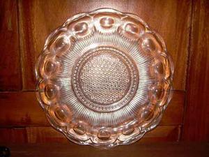 Bandeja De Cristal Antigua De Gran Diseño En Perfecto