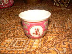Tetera De Porcelana Con 7 Vasos De Porcelana Color Rojo De