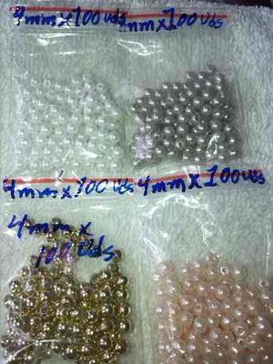Perlas 4 Mm Para Bisutería Y Manualidades Por Paquetes