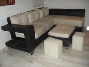 Juego De Recibo/sala Vipiel. Black& White + 3 Puff. Poco Uso