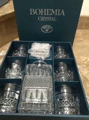 Juego De Vasos De Whiskey De Cristal Tallado Bohemia