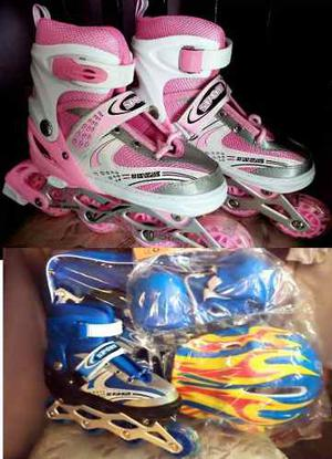 Patines Lineales Ajustables + Kit De Proteccion Regalo