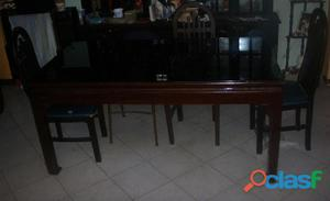 Mesa comedor de madera con vidrio 3 sillas