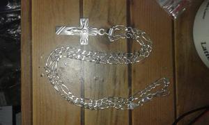 Cadena De Plata Lei 925 De 50cm Con Crucifijo, Todo19gr
