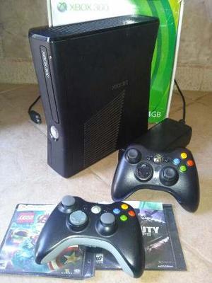 Xbox 360 Slim + 2 Controles Chipeado Lt 3.0