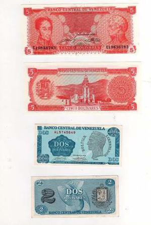 2 Billetes 5 Y 2 Bolívares Sin Circular Nuevos Tinoquito