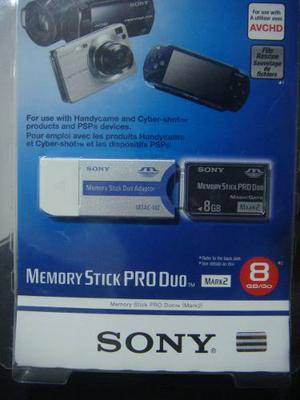 Memorias Psp Y Camaras Digitales Sony Stick Pro Duo 8 Gb.