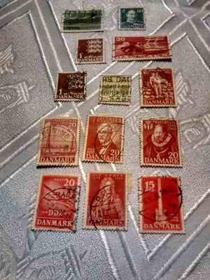 Estampillas De Dinamarca, Set De Catorce Ejemplares