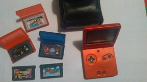 Game Boy Advance Sp Con Cargador, Estuche Y 4 Juegos