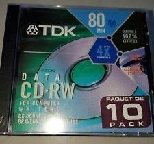 Tdk Cd-rw 4x 700mb-80min Pack De 10 En Cajas Individuales