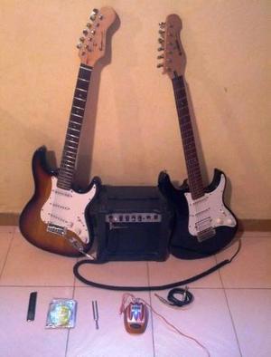 Combo 2 Guitarras Electricas + Amplificador + Accesorios