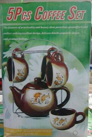 Juego De Taza De Cafe De Porcelana De 5 Pieza