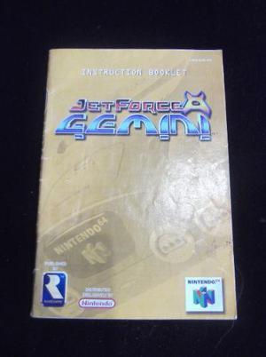 Manual De Juego De Nintendo 64 Jet Force Gemini Usado